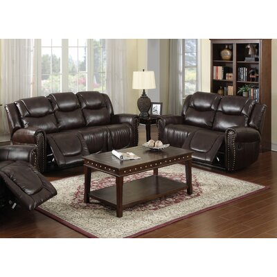 Beverly Fine Furniture GS3700-BN-2PC Toledo 2 Piece Bonded Leather Reclining Living Room Sofa Set