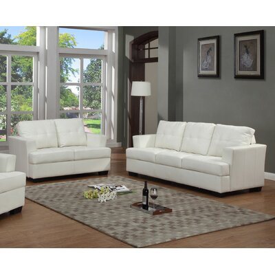 Cecilia Sofa and Loveseat Set Upholstery: White