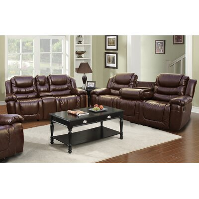Beverly Fine Furniture GS3888-2PC Ottawa 2 Piece Bonded Leather Reclining Living Room Sofa Set
