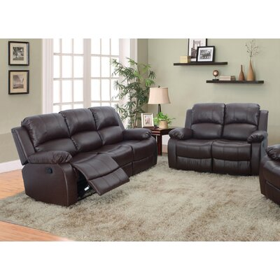 Beverly Fine Furniture GS2900BN-2PC Denver 2 Piece Bonded Leather Reclining Living Room Sofa Set Upholstery