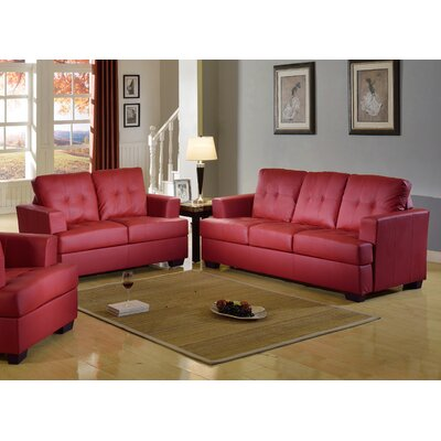 Cecilia Sofa and Loveseat Set Upholstery: Red