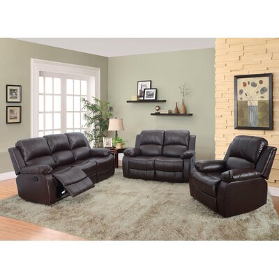 Beverly Fine Furniture GS2900BN-3PC Denver 3 Piece Bonded Leather Reclining Living Room Sofa Set Upholstery
