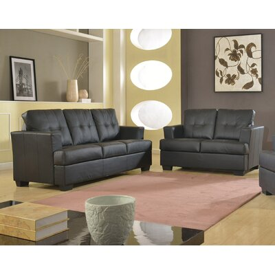 Cecilia 2 Piece Living Room Set Upholstery: Black