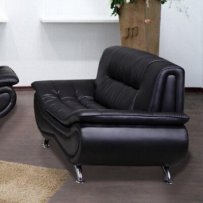 Lena Loveseat Upholstery: Black