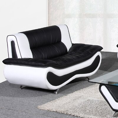 Lena Loveseat Upholstery: Black / White