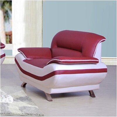 Cecilia Chair Color: Red / Off-White