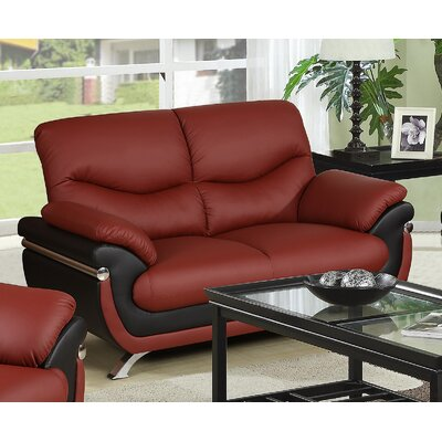 Tina Loveseat Upholstery: Red / Black