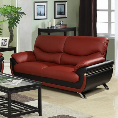 Tina Sofa Upholstery: Red / Black