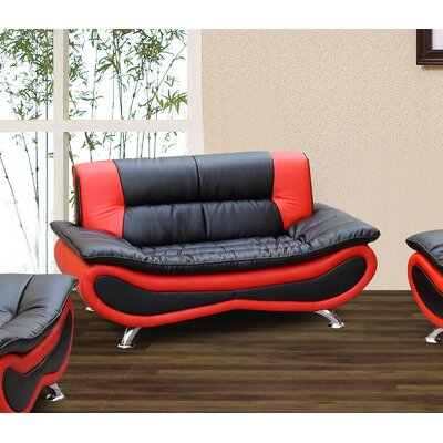 Lena Loveseat Upholstery: Black / Red