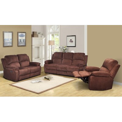 Beverly Fine Furniture GS2902-3PC Denver 3 Piece Microfiber Reclining Living Room Set Upholstery