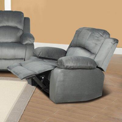 Denver Micro Velvet Recliner Upholstery: Grey