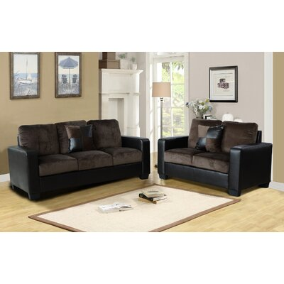 Della 2 Piece Living Room Set Upholstery: Dark Brown