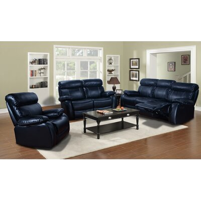 Torbett 3 Piece Recliner Sofa Set Upholstery: Black