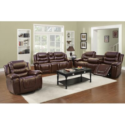 Ottawa 3 Piece Bonded Leather Reclining Living Room Sofa Set