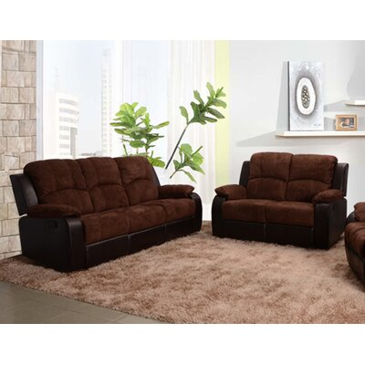 Beverly Fine Furniture SF1003-2PC Pamela 2 Piece Microfiber Reclining Living Room Sofa Set