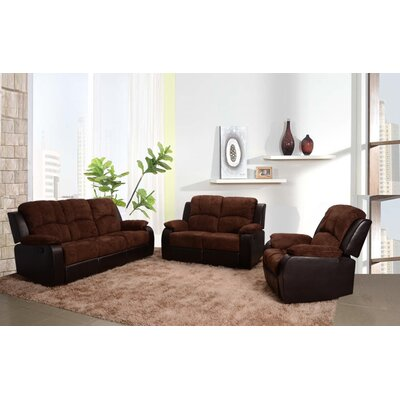 Pamela 3 Piece Microfiber Reclining Living Room Sofa Set