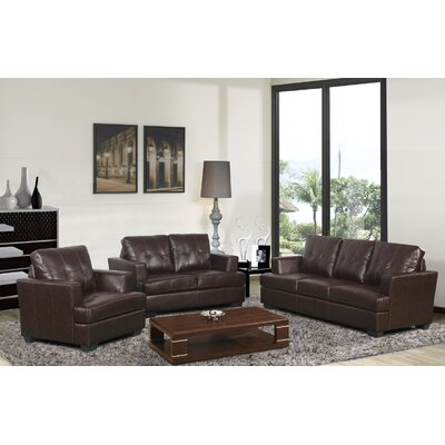 Cecilia 3 Piece Living Room Set Upholstery: Brown