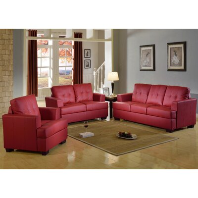 Cecilia 3 Piece Living Room Set Upholstery: Red