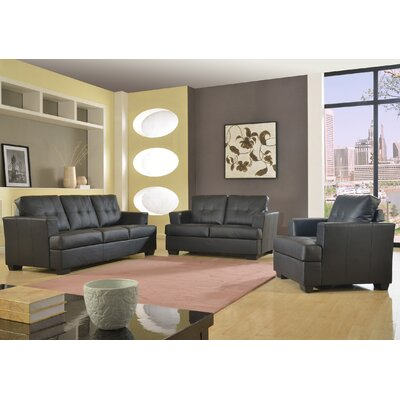 Cecilia 3 Piece Living Room Set Upholstery: Black
