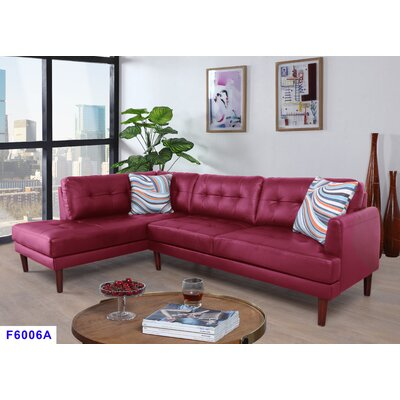 Cerys Sectional Orientation: Left Facing, Upholstery: Red