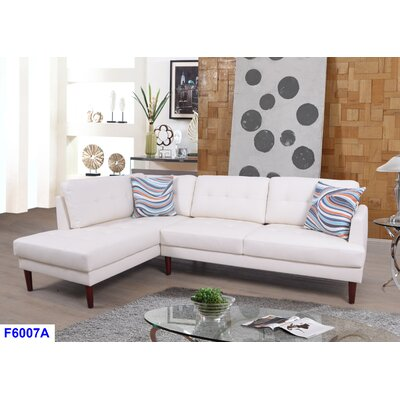 Cerys Sectional Orientation: Left Facing, Upholstery: White
