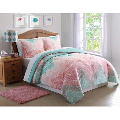 Clarmont Comforter Set Size: Twin XL, Color: Pink/Teal