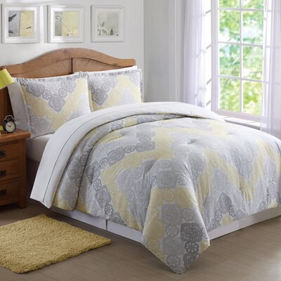 Clarmont Comforter Set Size: Twin XL, Color: Gray/Yellow
