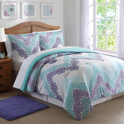 Clarmont Comforter Set Size: Full/Queen, Color: Purple/Teal