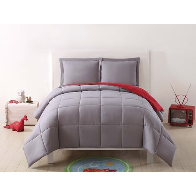 Jamal Kids Reversible Comforter Set Color: Gray/Red, Size: Twin XL
