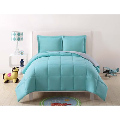 Jamal Kids Reversible Comforter Set Color: Turquoise/Gray, Size: Twin XL