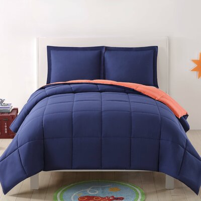 Jamal Kids Reversible Comforter Set Color: Navy/Orange, Size: Full/Queen