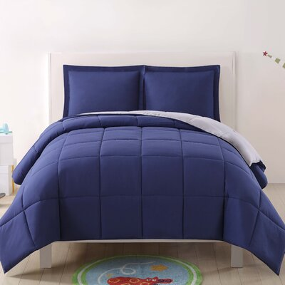 Jamal Kids Reversible Comforter Set Color: Navy/Gray, Size: Twin XL