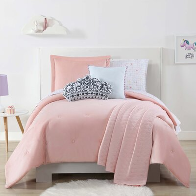 Brunelle Quilted Comforter Set Size: Twin, Color: Pink