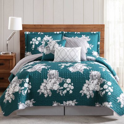 Ariana 6 Piece Quilt Set Size: Queen, Color: Blue