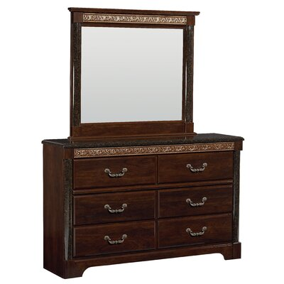 Venetian 6 Drawer Dresser with Mirror