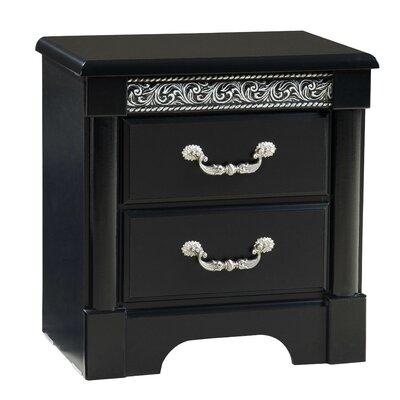 Venetian 2 Drawer Nightstand Color: Black