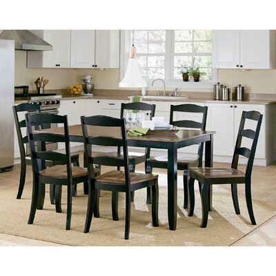 Highland 7 Piece Dining Set Finish: Black / Brown