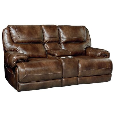Applewood Console Power Motion Leather Reclining Loveseat