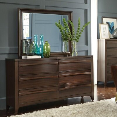 Downs 6 Drawer Double Dresser with Mirror
