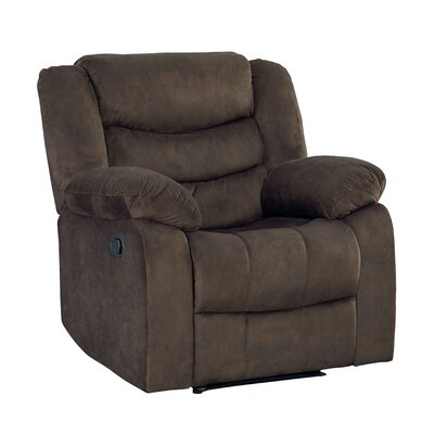 Eila Glider Recliner Upholstery: Dark Brown