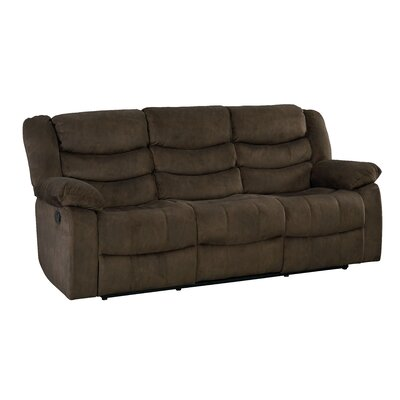 Eila Reclining Sofa Upholstery: Dark Brown