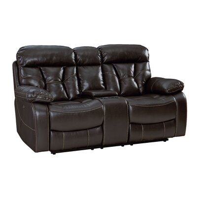 Ellenton Reclining Loveseat with Pillow Top Arms Upholstery: Java