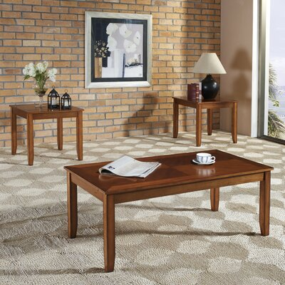 3 Piece Coffee Table Set Color: Tawny Golden Oak