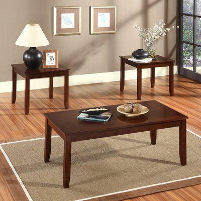 3 Piece Coffee Table Set Color: Rich Brown Cherry