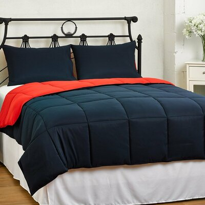 eLuxury Supply Reversible Comforter Set - Color: Red / Blue, Size: Twin / Twin XL