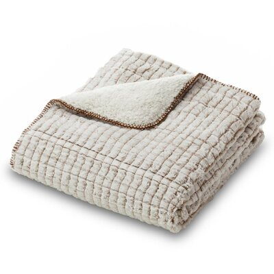 Ultra Plush Faux Fur Throw Blanket Color: Beige