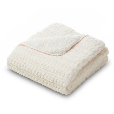 Ultra Plush Faux Fur Throw Blanket Color: Cream