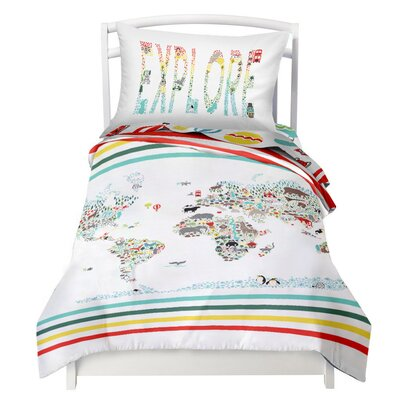 World Map / Explorer Reversible Duvet Cover Set Size: Twin