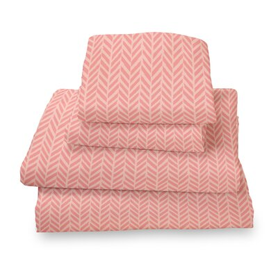 Herringbone Extra Deep Pocket Sheet Set Size: Full, Color: Coral