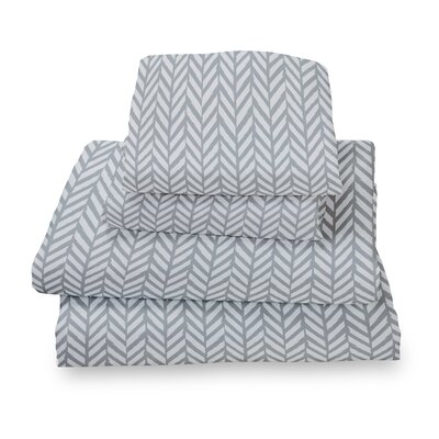 Herringbone Extra Deep Pocket Sheet Set Size: Full, Color: Gray